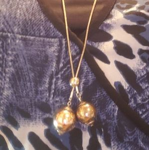 "Gorgeous Silver/Gold toned ball 22"" necklace"